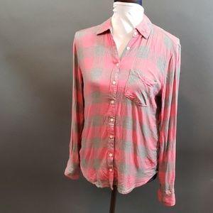 Aeropostale pink & gray flannel shirt